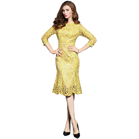 Spring Lace Three Quarter Sleeve Slim Fishtail Party Dress