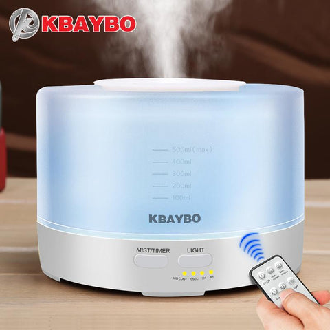 500ml Remote Control Ultrasonic Air Aroma Humidifier With 7 Color LED Lights - The Poacher Online
