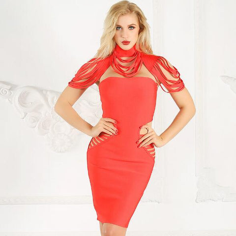 Two-piece tube top skirt bandage dress high collar fringed openwork evening dress