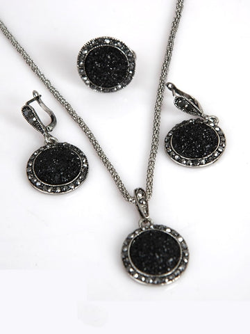 Round Rhinestone Pendant Necklace & Earrings
