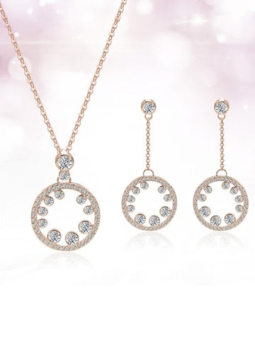 Rhinestone Ring Design Drop Earrings & Necklace