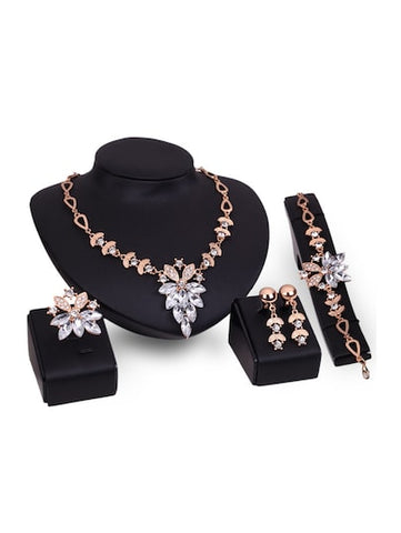 Rhinestone Necklace, Earrings, Bracelet & Ring