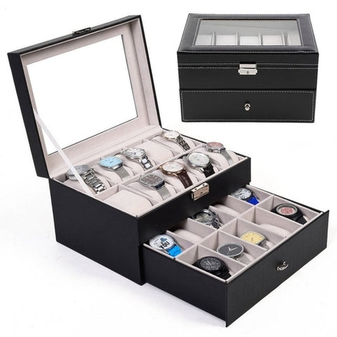 20 Grid Slots Watches Boxes Jewelry Organizer - The Poacher Online