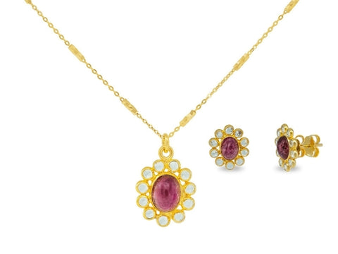 Red Tourmaline & Crystals Necklace and Earrings