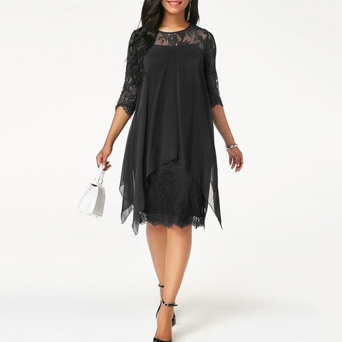Chiffon Overlay Three Quarter Sleeve Stitching Irregular Hem Lace Dress - The Poacher Online