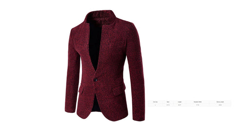 Men's One Button Design Stand Collar Woolen Blazer Jacket (Size L) - The Poacher Online