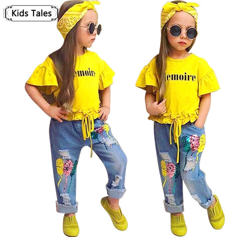 Children Sets for Girls Girls Suits for Children Girls T-shirt + Pants + Headband 3pcs. Suit - The Poacher Online