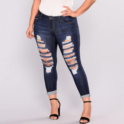 Plus Size High Elastic Hole Jeans for Women