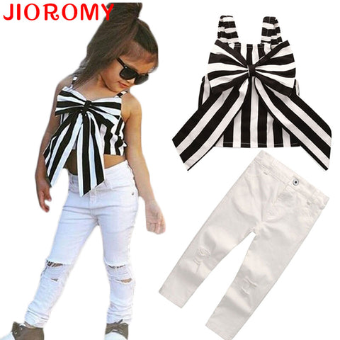 2 Pieces Summer Stripes Ribbon Short Sling Suits for girls