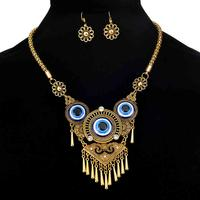 Three Blue Eyes Alloy Clavicle Jewelry Set