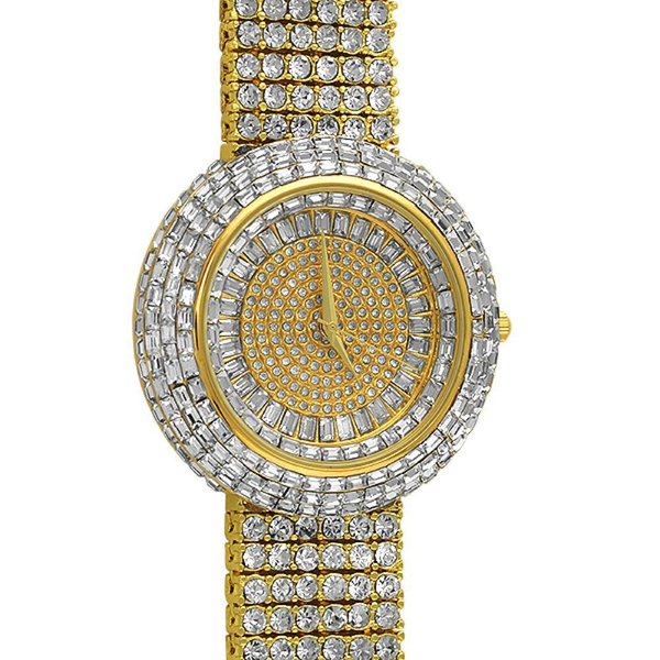 Custom Gold Iced Out Baguette Orbit 6 Row Watch - The Poacher Online