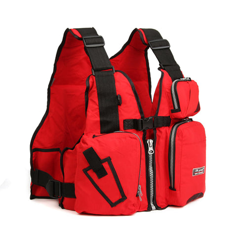 Red Universal Nylon Adult Adjustable Life Jacket