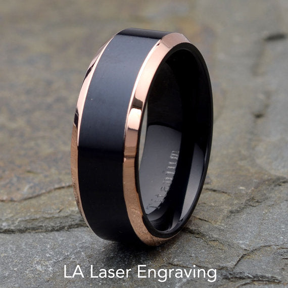 Polished Beveled Edge Custom Titanium Rings - The Poacher Online