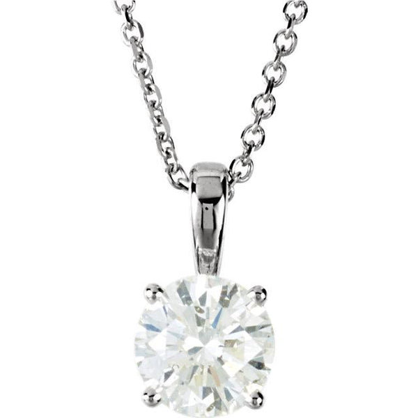 "14K White Gold 1 CTW Diamond 18"" Necklace - Pranic Lifestyle"