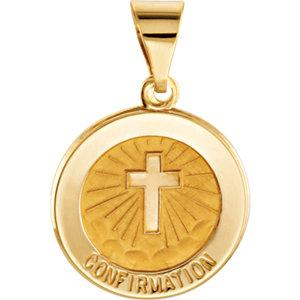 14K Yellow Gold 15 mm Round Hollow Confirmation Medal - Pranic Lifestyle