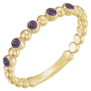 14K Yellow Gold Alexandrite Stackable Ring - Pranic Lifestyle