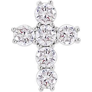 "14K White 1 1/2 CTW Diamond Cross 18"" Necklace - Pranic Lifestyle"