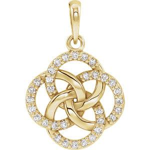 14K Yellow Gold 1/8 CTW Diamond Five-Fold Celtic Pendant - Pranic Lifestyle