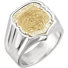 Sterling Silver St. Michael Badge Ring - Pranic Lifestyle