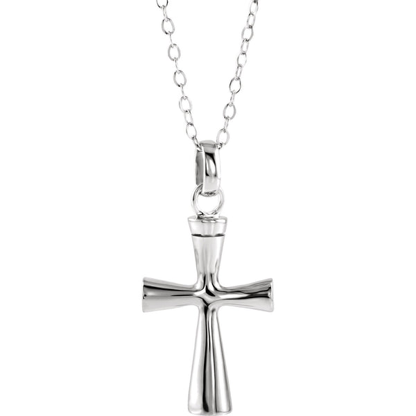 "Sterling Silver Cross Ash Holder 18"" Necklace"