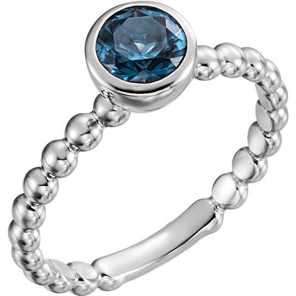 Sterling Silver Blue Sapphire Stackable Family Ring - Pranic Lifestyle