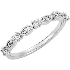 14K White Gold 1/5 CTW Diamond Granulated Stackable Ring - Pranic Lifestyle