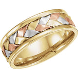 14K Yellow, White, & Rose Gold 7.75 mm Comfort-Fit Woven Band