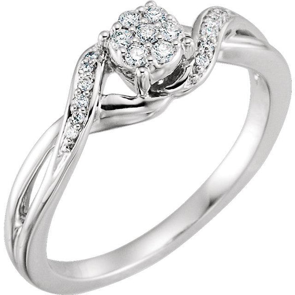 10K White Gold 1/8 CTW Diamond Cluster Promise Ring - Pranic Lifestyle
