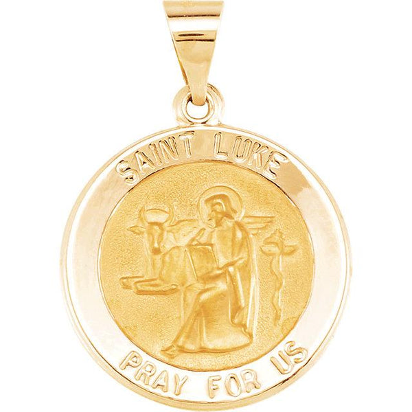 14K Yellow Gold 18 mm Round Hollow St. Luke Medal - Pranic Lifestyle