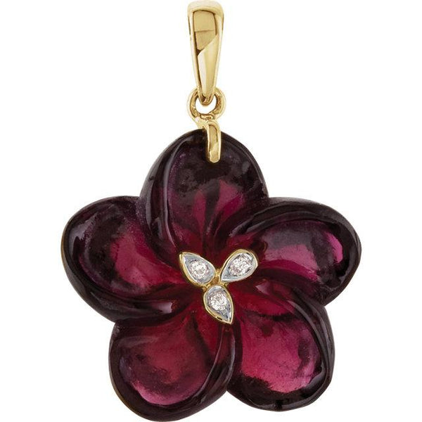 14K Yellow Gold Brazilian Garnet & Diamond Flower Pendant - Pranic Lifestyle