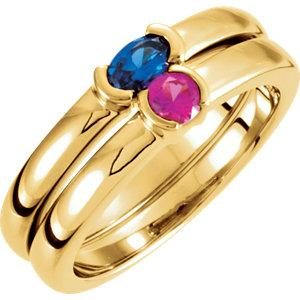 14K Yellow Gold Ruby Oval Stackable Family Ring - Pranic Lifestyle