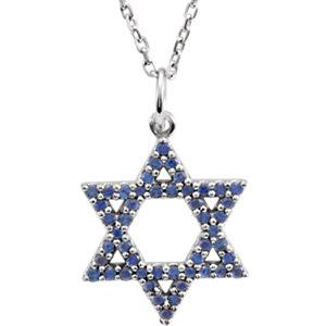 "14K White Gold Blue Sapphire Star of David 16"" Necklace - Pranic Lifestyle"