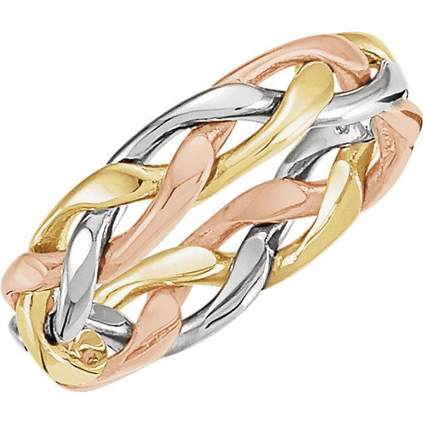 14K Yellow & White & Rose Gold 4.75 mm Woven Band