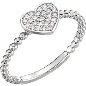 Sterling Silver 1/8 CTW Diamond Heart Bead Ring - Pranic Lifestyle