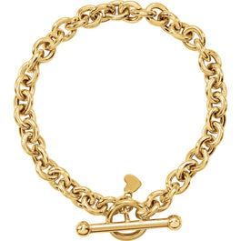 "14K Yellow Gold 6 mm Rolo Toggle 7"" Bracelet with Small Heart Dangle - Pranic Lifestyle"