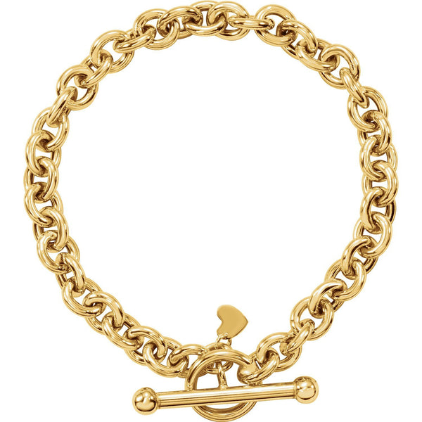 "14K Yellow Gold 6 mm Rolo Toggle 7"" Bracelet with Small Heart Dangle"