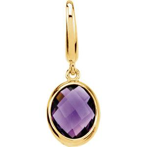 Genuine Amethyst Charm - 14K Yellow Gold - Pranic Lifestyle