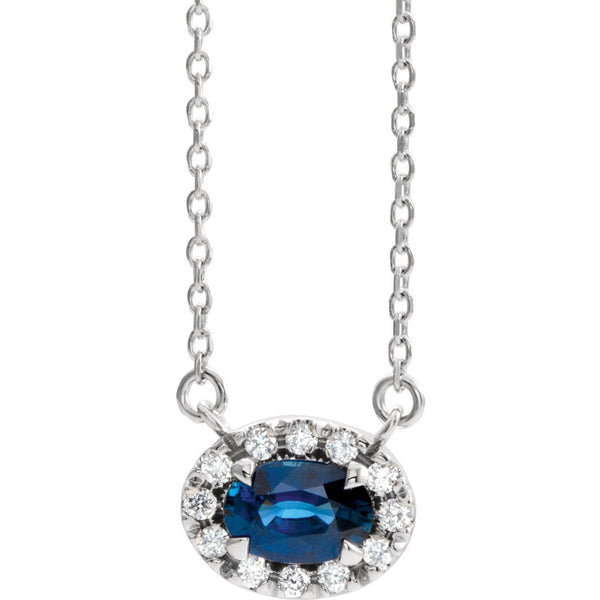 "14K White Gold Blue Sapphire & .05 CTW Diamond 18"" Necklace - Pranic Lifestyle"
