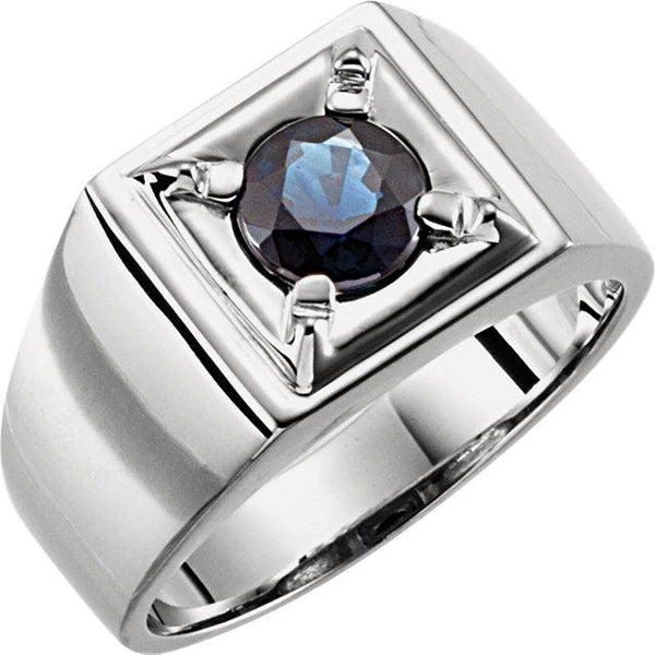 14K White Gold Blue Sapphire Men's Ring - Pranic Lifestyle