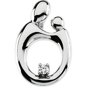 14K White Large Mother and Child® Diamond Pendant