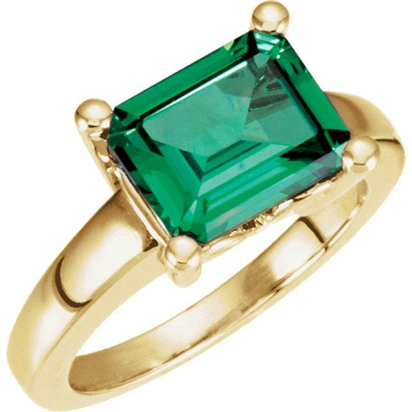 14K Yellow 10x8mm Emerald Ring - Pranic Lifestyle