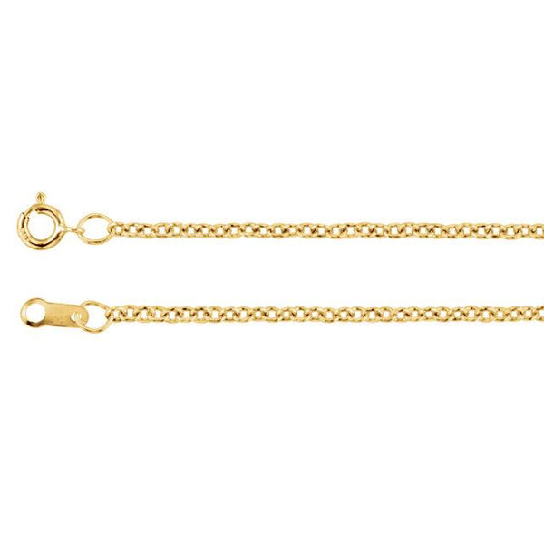 "18K Yellow Gold 1.5 mm Solid Cable 20"" Chain - Pranic Lifestyle"