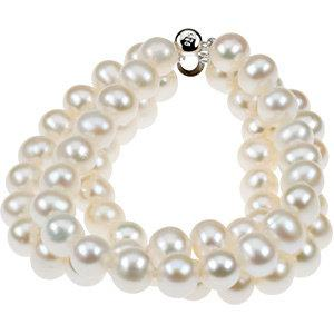 "Sterling Silver 8-9 mm Freshwater Cultured Pearl Triple Strand 7.25"" Bracelet - Pranic Lifestyle"