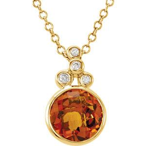 "14K Yellow Gold Checkerboard Citrine & .04 CTW Diamond 18"" Necklace - Pranic Lifestyle"