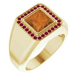 Citrine & Garnet Prosperity Power Ring for Men - Pranic Lifestyle
