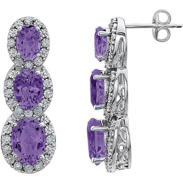 14K White Amethyst & .07 CTW Diamond 3-Stone Earrings