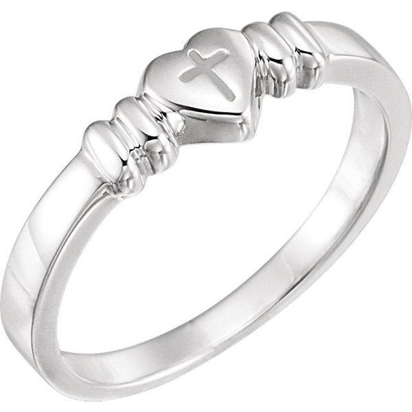 14K White Gold Heart with Cross Chastity - Pranic Lifestyle