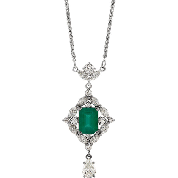 "14K White Gold Emerald & 1 1/4 CTW Diamond 18"" Necklace - Pranic Lifestyle"