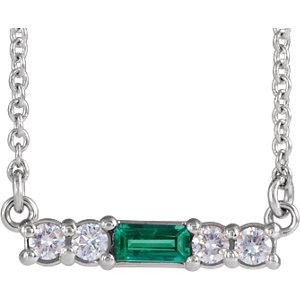 "14K White Gold Emerald & 1/5 CTW Diamond 16"" Necklace - Pranic Lifestyle"