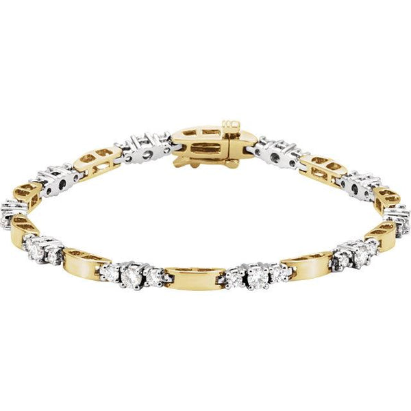 14K Yellow & White Gold 1 3/4 CTW Diamond Line Bracelet - Pranic Lifestyle